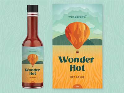 Wonderbird Hot Sauce label design bottle label pattern fire flame food gradient illustraion landscape hot air balloon package design packaging label hot sauce