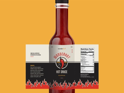 Wonderbird Hot Sauce label packaging label design flames flame fire chili pepper hot sauce hot vector design illustration icons package design branding label food
