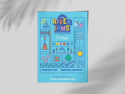 Jax River Jams Poster river gig poster thin line poster design poster park guitar music concerts in the park concert poster concert icon icons vector design illustration