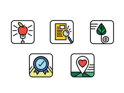 Market Icons apple local research organic food illustration icon set icons market