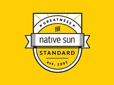 badge ribbon sun yellow badge