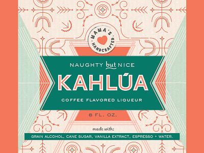 Kahlua Label food colorblock pattern coral aqua pink kahlua alcohol package label