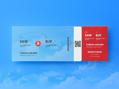 Turkish Airlines Ticket psd graphic art web mockup design