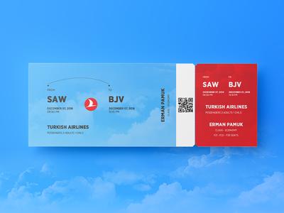 Turkish Airlines Ticket psd graphic art web mockup design