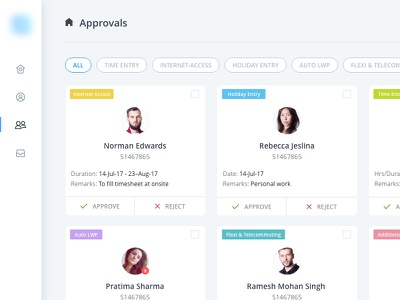 Approval UI admin actions blue user interface employee card card art approval