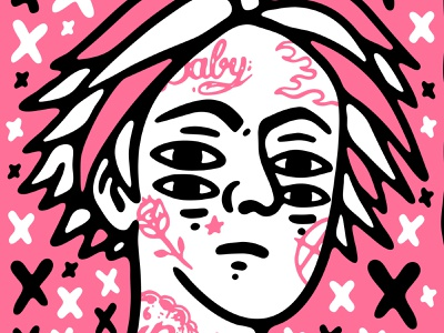 Lil Peep graphic design old school tattoo emo trap hip hop punk music lifestyle illustration artwork apparel
