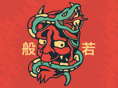 Hannya illustration snake apparel tattoo artwork punk music lifestyle graphic design old school