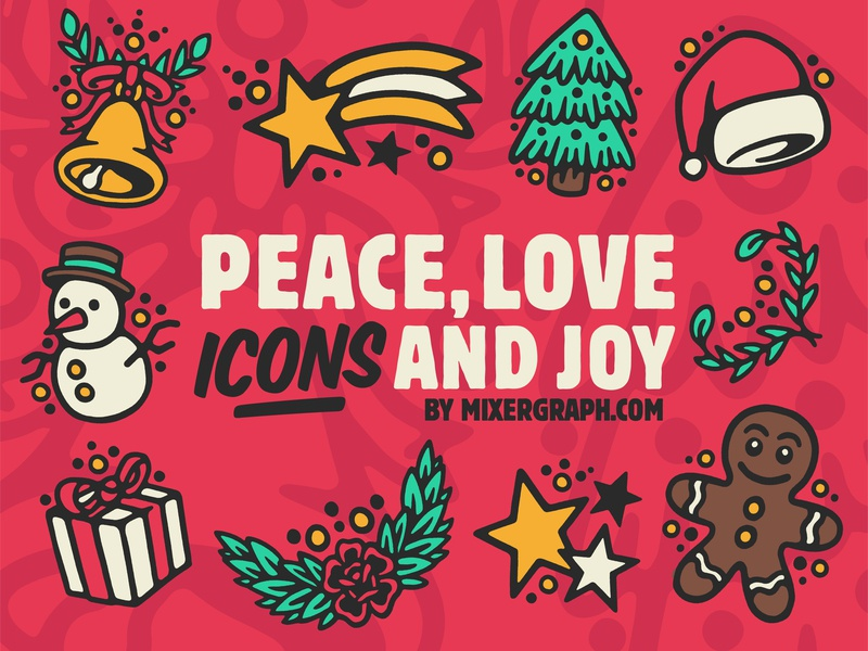 Peace, Love, Icons and Joy icons design icon vector artwork ornament graphic graphic art vector resources illustration artwork free flat icons set christmas icons free backgrounds