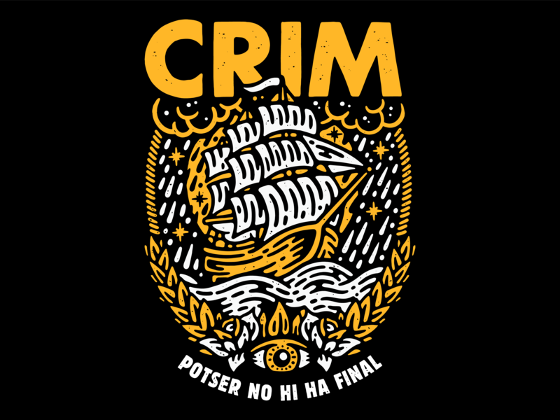 T-Shirt design for the punk rock band CRIM skate hardcore art tattoo flat logo wacom procreate icon punk rock distressed illustrated illustrator punk ship music lifestyle apparel illustration artwork