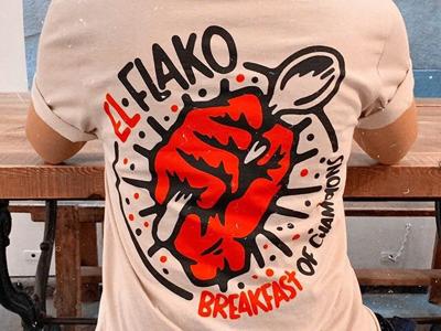 El flako apparel coffee handmade punk metal band procreate t-shirt patch digital illustration cereal