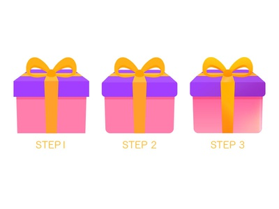 Gift icon, step by step