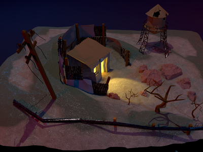 Low Poly Post Apocalyptic Cabin - Angle 2