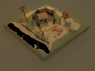 Low Poly Post Apocalyptic Cabin Day Time