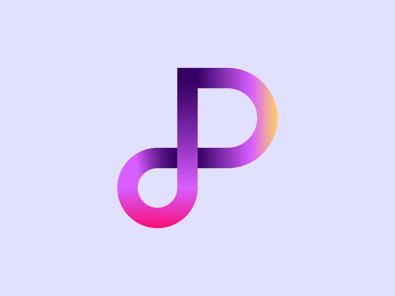 dP logotype gradient creative design pd dp impossible lettering typography lalit print designer india
