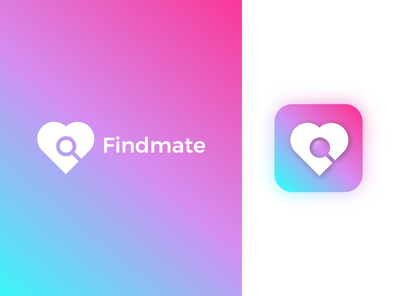 Findmate branding logomark minimal heart search mate find love design logo designer designer india lalit