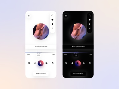 Music App UIX minimal mode dark light screen startup application music device ux ui interface design lalit designer india