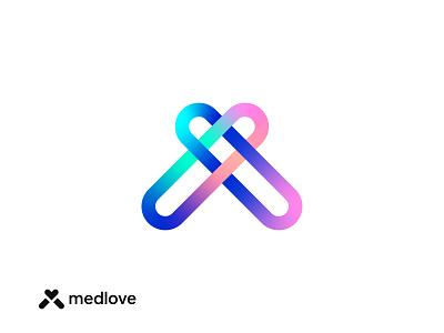 Medlove smart creative minimal love pills pill medical heart medlove logo logo design brand identity logo designer branding print design lalit designer india