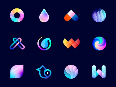 Logoicon Collection 4 w bird crypto blockchain colorful geometric beautiful amazing creative futuristic logotype logo brand identity logo designer branding print design lalit designer india