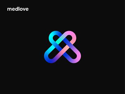 medlove dark medlove connection friendly healthcare like life love heart pill m medical logo brand identity logo designer branding print design lalit designer india