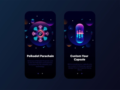 Splash UI Visual nft creative beautiful futuristic amazing blockchain capsule parachain polkadot visual india designer animation design ui ux interface screen startup application