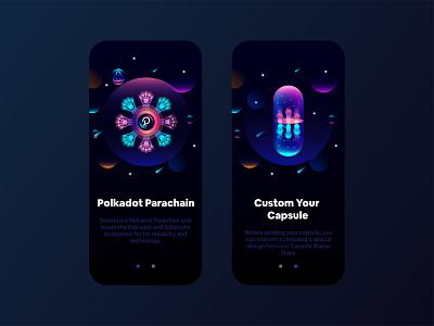 Splash UI Visual nft creative beautiful futuristic amazing blockchain capsule parachain polkadot visual india designer animation design ui ux interface screen startup application