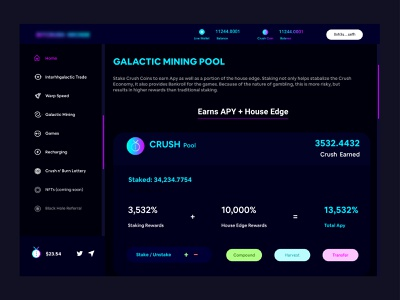 Crush UIX pool farming mining stake unstake coin crypto currency crypto token swap defi web website typography ux ui design lalit designer india