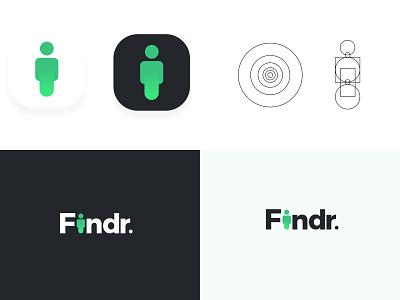 Findr LogoIcon design logos search human branding design logodesign australia findr logo design print logo brand identity india branding designer logo designer
