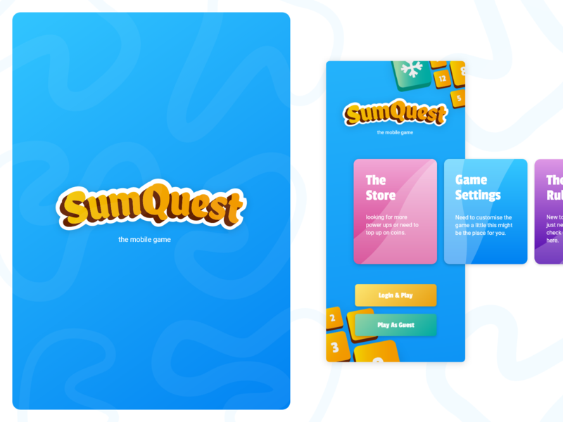 SumQuest Home Screen uiux design branding corporate identity adobe xd modern design sumquest sumquest moder tile ui mobile design user experience uidesign mobile game ui mobile game