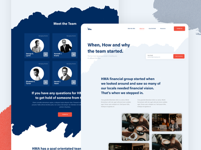 About Screen UI web design uidesign uiux modern design blue and orange website web ui business history team watercolor brush strokes directors meet the team team page aboutus about screen