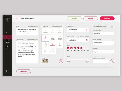 Bespoke Hospitality CMS cms navigation filter dashboard web design hospitality forms design interface design ux design ui design