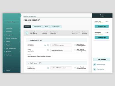 Interface design - Room reservation platform panel reservation navigation booking dashboard hotel hospitality forms interface design ux design ui design