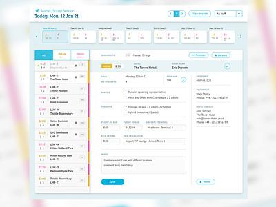 Shuttle Service Calendar UI design sidebar software interface design calendar tabs forms ux design ui design