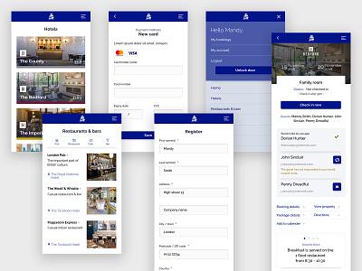 Hotel mobile app mobile app card payment online booking hotel booking ui design blue forms web design ux design hotel app hotel booking hospitality mobile app design