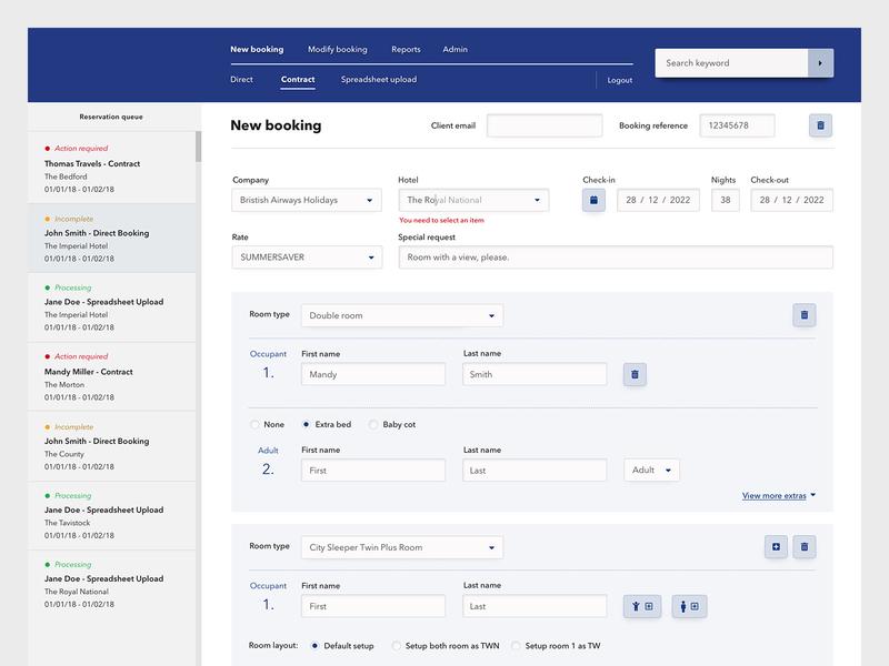 Hotel admin tool blue ux design ui design reservation booking hotel desktop app design forms hospitality interface design admin tool dashboard
