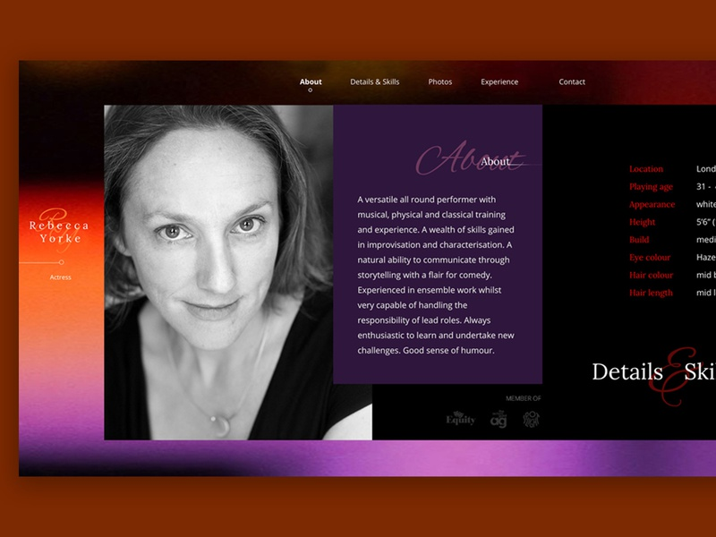 Actress Website portrait page web design landing page horizontal scroll one-pager profile actor actress design ui design