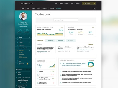 Dashboard for Premium Section of Website articles landingpage website data tabs navigation premium stats my account side nav admin infographics dashboad interface design ux design ui design