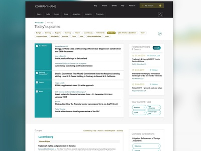 Customised news page custom news news filter tags premium header navigation landing page data article admin dashboard web design my account design interface design ux design ui design