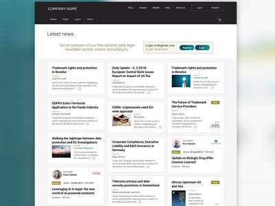 News landing page article list news page webinar register navigation header article news landing page tiles masonry web design design interface design ux design ui design