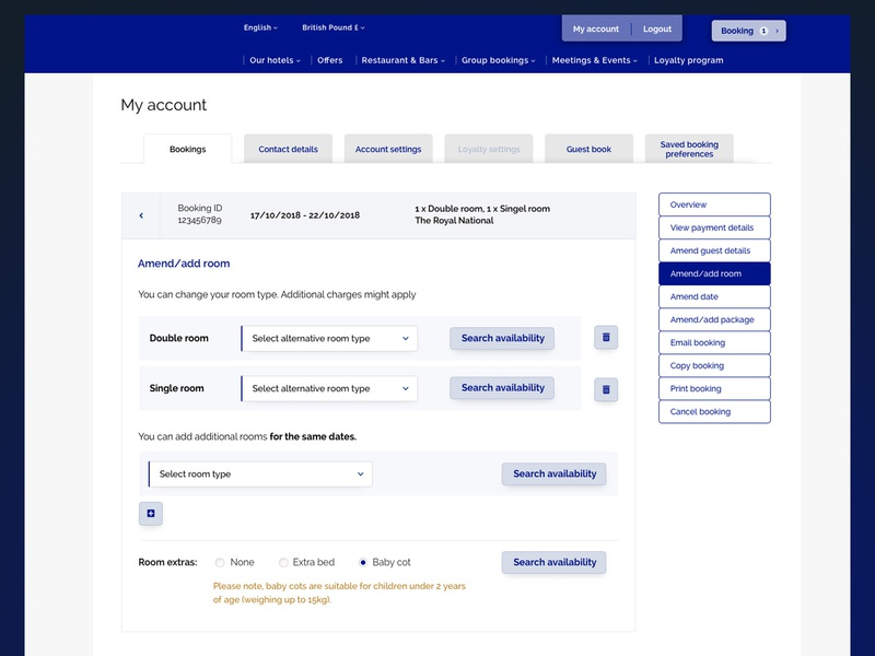 My Account - Hotel booking website room booking tabs my account side navigation sidebar reservation online booking hotel hospitality interface design ux design ui design