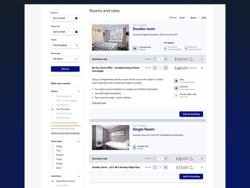 Hotel booking -  availability search for hotel rooms booking fields ui design ux design menu rates search results hotel interface hospitality userinterface uidesign checkbox filter room booking availability search accordion tools hotel booking