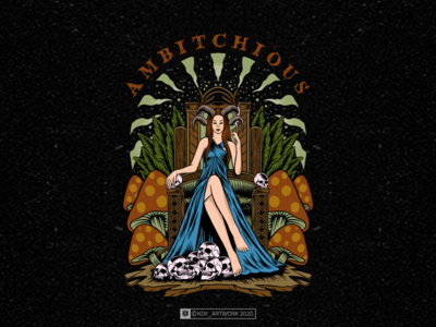 ambichious ambitchious ambition queen clothingline clothing clothes mushrooms psychedelic smoke weed relax designforsale tshirtdesign theskullreserve skull design drawing illustration artwork art