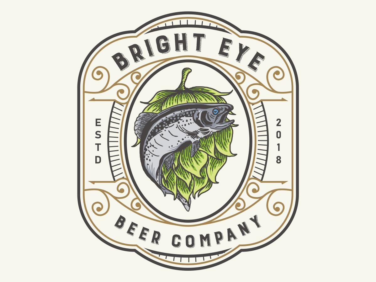 beer fish hop hand drawn emblem vintagelogo vintage badge beer logo