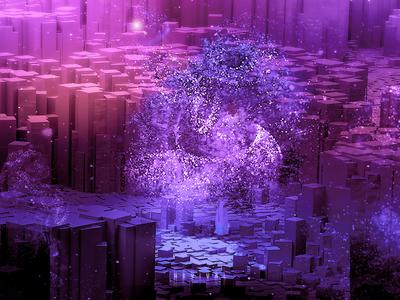 REVIVAL 3d art cgi illustration digital artist particles cute cool fantasy tree geometry inspirational inspire inspiration contrst color colorful bright surrealism digital art digitalart