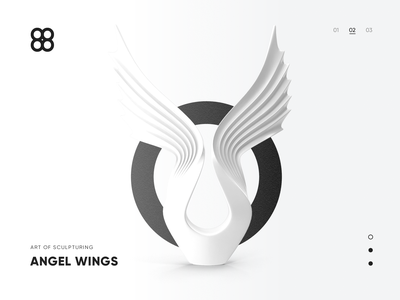 Angel Wings monochrome grey white simple black and white sculpture wings minimal clean branding typography design