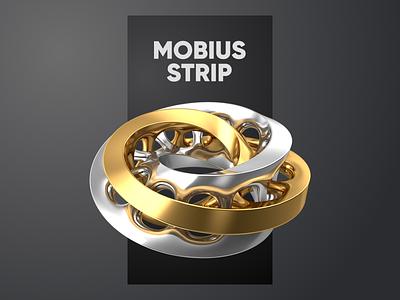 Mobius Strip 3 geometry c4d 3d cinema4d dark mobius silver gold black clean minimal typography design