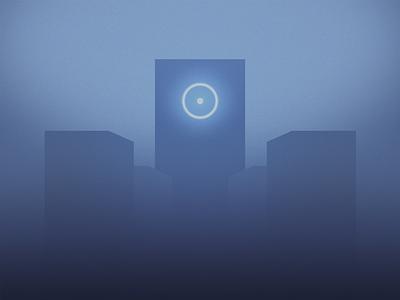 DEEP MYSTIC vector geometry sun circle building architecture light futuristic mystic sacred symbol blue clean minimal design