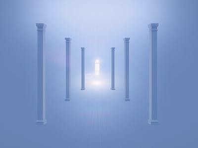 ATLANTS PROPHECY symmetry 3d shine flare light blue columns atlantis sign symbol clean minimal design