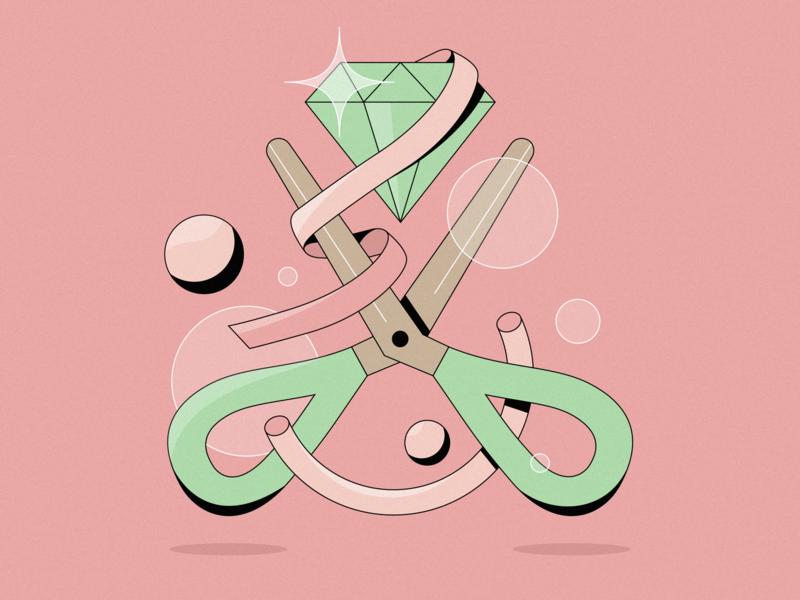 Diamond Cut beauty diamond pink adobeillustrator scissors 2d illustration illustrator illustration