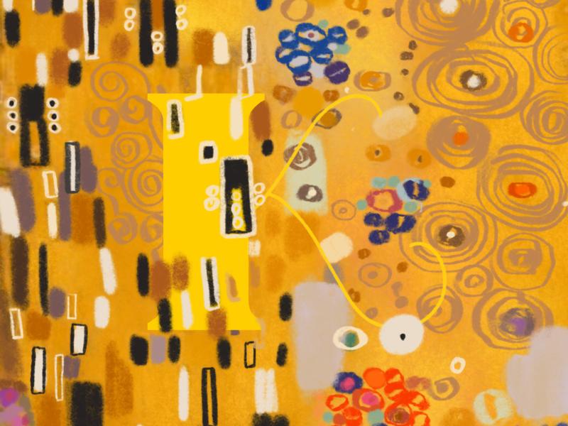 Klimt. #36daysoftype type art drawing k letter k 36 days of type abstract art patterns gold vienna painting the kiss klimt gustav klimt