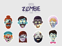 Hipster Zombie iOS Stickers